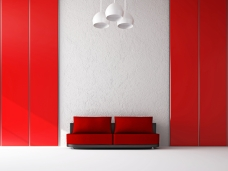 Red sofa near the wall