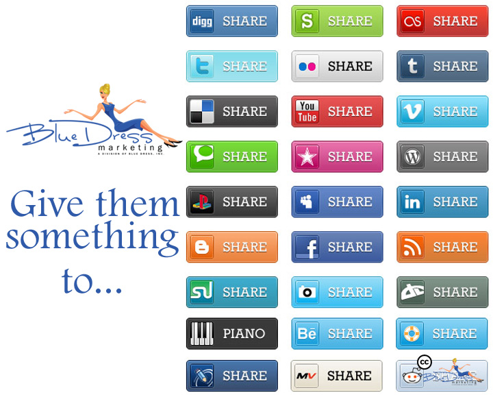 Blue Dress Social Media Marketing - Online Marketing - share copy